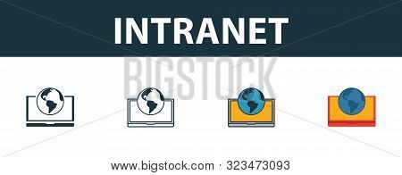 Intranet Icon Set. Four Simple Symbols In Diferent Styles From Icons Collection. Creative Intranet I