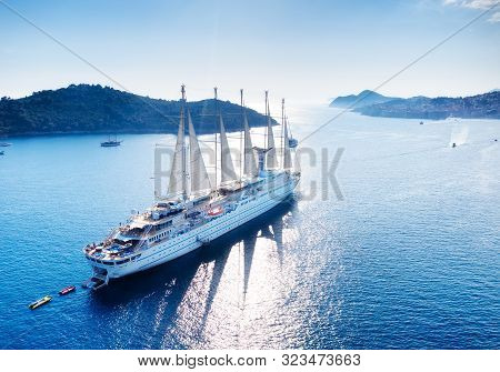 Croatia. Aerial View At The Cruise Ship With Sail At The Day Time. Adventure And Travel.  Landscape