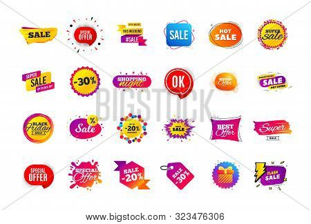 Sale Banner Badge. Special Offer Discount Tags. Coupon Shape Templates Design. Cyber Monday Sale Dis