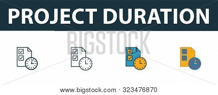 Project Duration Icon Set. Four Simple Symbols In Diferent Styles From Risk Management Icons Collect