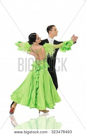 Ballroom Dance Pose. Ballroom Dance Couple In A Dance Pose Isolated On White Background. Ballroom Se