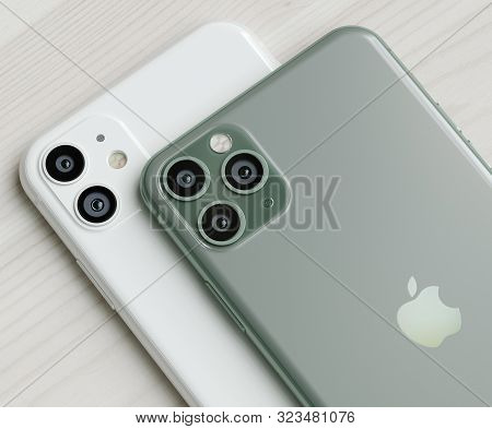 Italy-22 September, 2019: Iphone 11 And 11 Pro Smartphones On Table. Iphone 11 In Close Up. Latest A