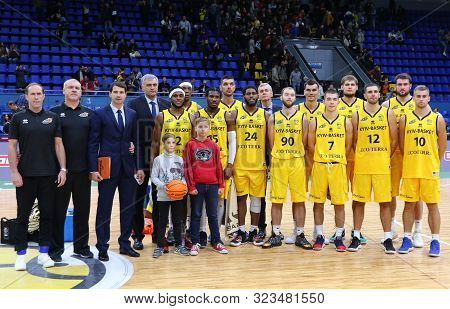 Kyiv, Ukraine - September 20, 2019: Bc Kyiv Basket Team Pose For A Group Photo After The Fiba Basket