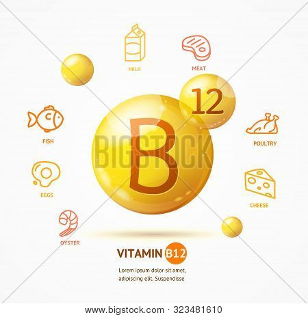 Realistic Detailed 3d Vitamin B12 Card Healthy Nutrition Or Diet Concept And Thin Line Icons Set . V