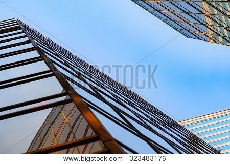 Golden Building. Windows Glass Of Modern Office Skyscrapers In Technology And Business Concept. Faca
