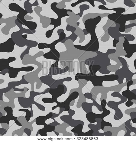 Camouflage Pattern. Background Of Soldier Grey. Camouflage Pattern Background. Classic Clothing Styl