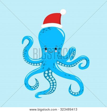 Octopus Cartoon Character. A Cute Octopus Wearing Santa Claus Hat For Merry Christmas And Happy New