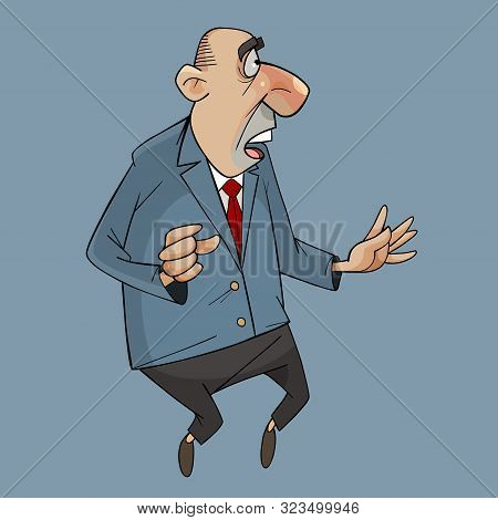 Cartoon Man In Suit With Tie Standing Frightened With His Mouth Open
