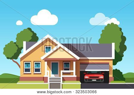 Colonial Neo Classical Architecture Style Mansion Cottage Building. Suburban House With Car Garage