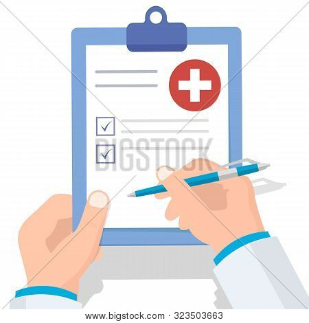 Doctor Holding Clipboard And Takes Notes On It. Medical Report. Flat Vector Illustration.