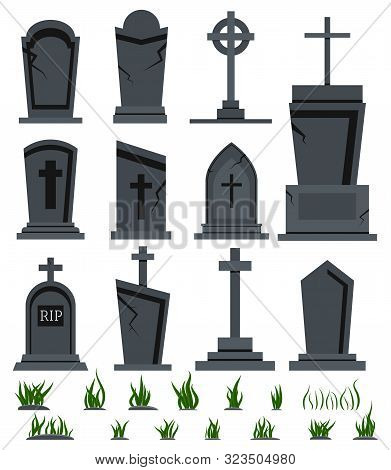Rip Grave Tombstone Set With Green Grass For Halloween Design Isolated On White Background Vector Fl