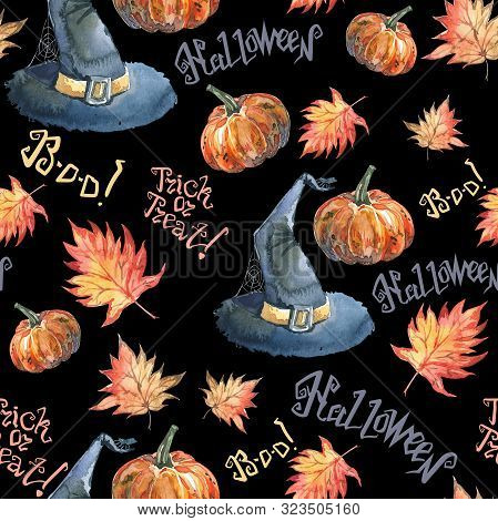 Halloween Seamless Pattern With Halloween Pumpkin, Autumn Maple Leaves, Lettering And Witch Hat. Cut