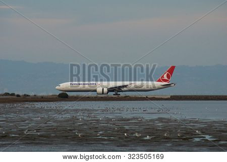 San Francisco, California, United States - Nov 27th, 2018: Turkish Airlines Boeing 777-3f2er Taxiing