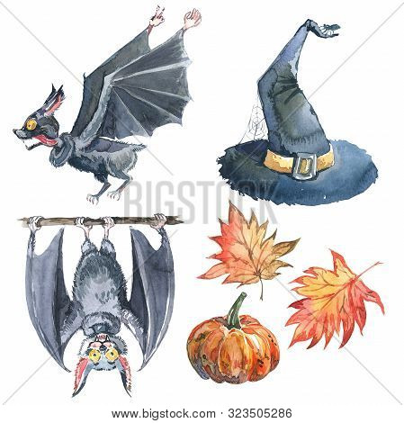 Halloween Watercolor Set: Maple Leaf, Bat, Pumpkin, Witch Hat And Halloween Lettering. Isolated On W