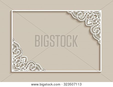 Rectangle Frame With Lace Corner Pattern, Cutout Paper Ornament, Elegant Template For Laser Cutting,