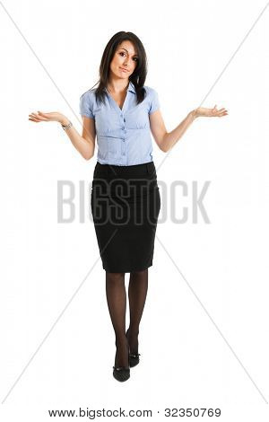 Cute businesswoman in a sorry pose isolated on white