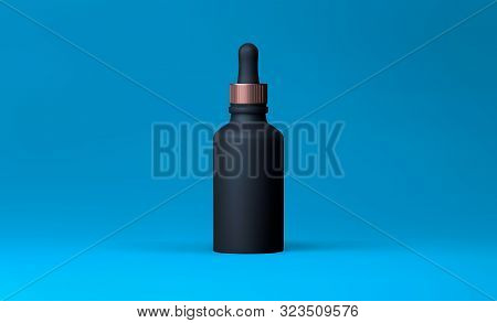 Elegant Cosmetic Dropper For Skin Care On Blue Background. Realistic Vector 3d White And Gold Matte