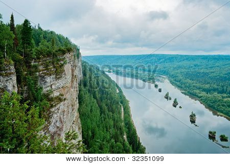 View of the Vishera river from the Vetlan cliff. Perm Krai. Russia. poster