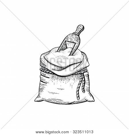 Vector Illustration Of Hand Draw Bag With Flour, Bread Sketched Concept. Black Line Art Drawing, Ear