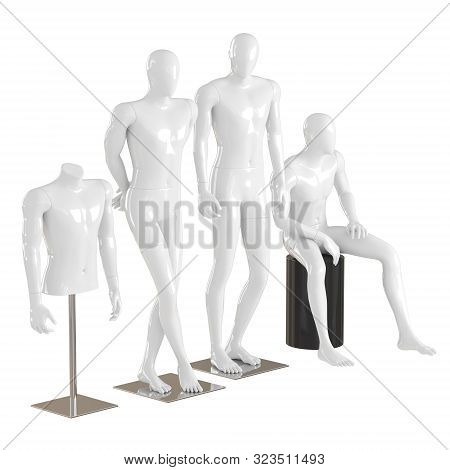 Four Different White Mannequins In A Standing And Sitting Pose And One Torso Mannequin On An Iron Ra