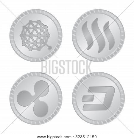 Vector Illustration Of Cryptography And Finance Logo. Collection Of Cryptography And E-business Vect