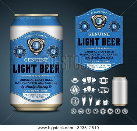 Vector Beer Label. Aluminium Can Mockup. Beer Icons, Badges, Insignia