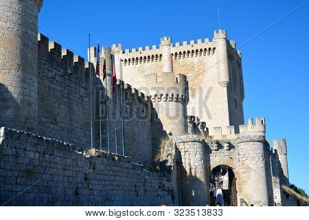 Side View Of A Medieval Castle In Penafiel Village, Valladolid Province, Castile-leon (spain). Main