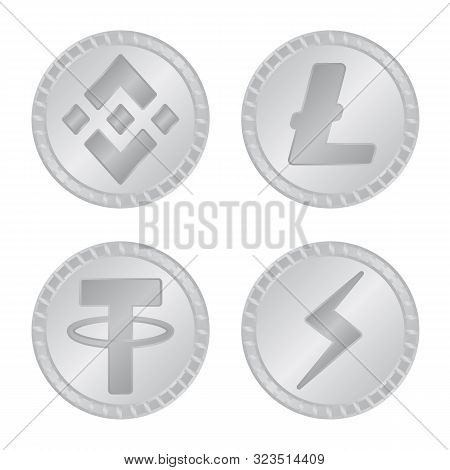 Vector Illustration Of Cryptography And Finance Sign. Set Of Cryptography And E-business Stock Symbo
