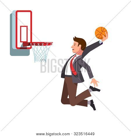 Business Man Performing Basketball Hoop Slam Dunk