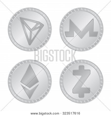 Vector Illustration Of Cryptography And Finance Icon. Set Of Cryptography And E-business Stock Symbo
