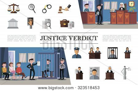 Flat Law System Composition With Defendant Lawyer Jury Judge Police Officer In Courthouse And Colorf