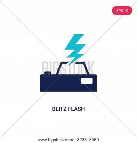 blitz flash icon in two color design style.