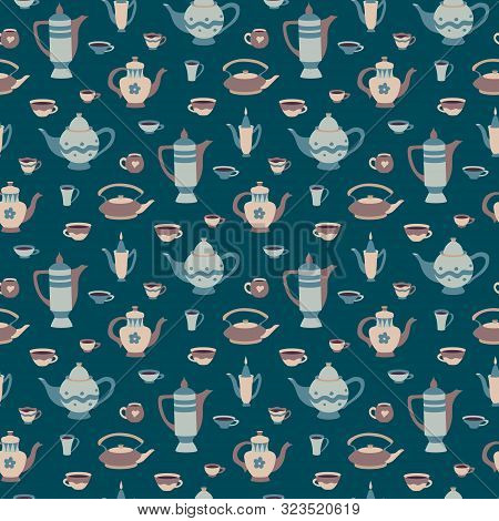 Seamless Pattern With Cups And Teapots In Scandinavian Style. Cartoon Children's Cookware Collection