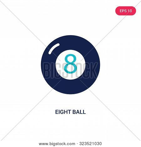 eight ball icon in two color design style.