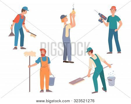 Men Engaged In Housework, Concept Help With Housework, Housework, Service