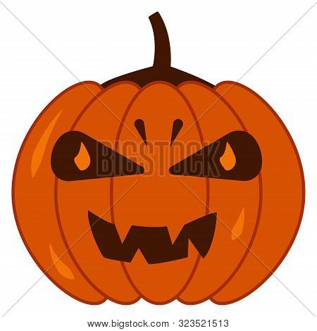 Autumn Pumpkin With Different Facial Expressions, Luminous Eyes. Happy Halloween. Holiday Illustrati