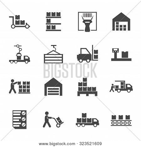 Flat Warehouse Logistics Icons Collection With Truck Loading Barcode Scanner Pallets With Boxes Scal