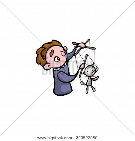 Puppeteer With An Animal Puppet. Raster Illustration In Flat Cartoon Style