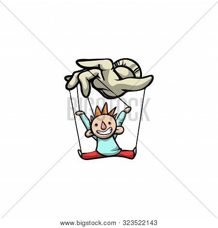 Puppeteers Hand Holding Clown Puppet. Raster Illustration In Flat Cartoon Style