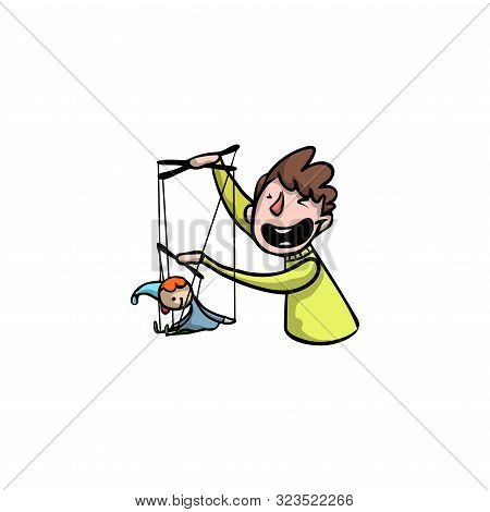 Puppeteer With A Puppet Of The Clown. Raster Illustration In Flat Cartoon Style