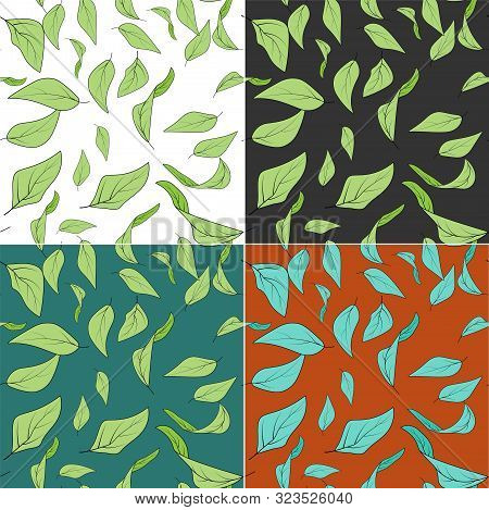 Colorfull Leaves In Modern Style On Colorfull Background. Colorful Vector Illustration. Botanical Il