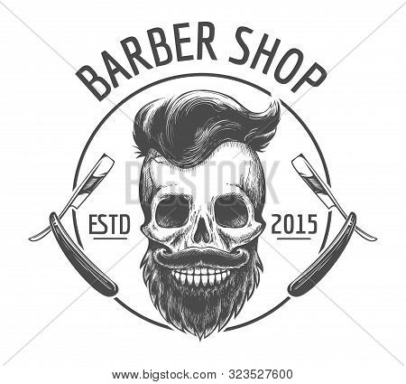 Skulls Barber Shop Logo. Bearded Skeleton Skulls Face With Engraving Mustache, Dapper Hairstyle And