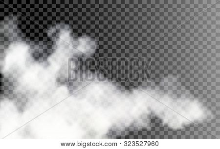 Fog On Transparent Background. Vector Isolated White Smoke, Transparancy Smokes Effect, Mist Texture