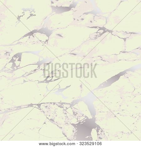 Marble Stone Texture. Vector Marble Background With Silver Lines Decoration. Luxury Trendy Cover. Pa
