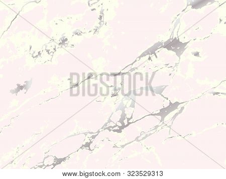 Marble Stone Texture. Vector Marble Background With Silver Lines Decoration. Luxury Trendy Cover. Pi