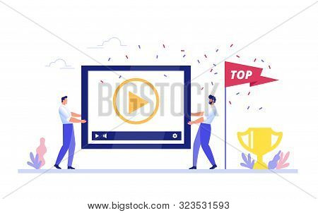 Content Management, The Concept Of Blogging And Promoting Video In A Top Rating. Two Men Carry A Vid