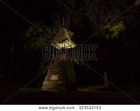 Nightscape Image Of The Pine Grove School Bell.