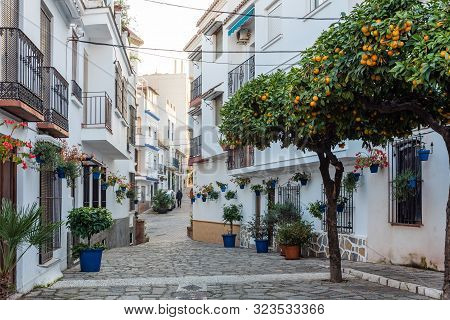 Traditional Narrow Spanish Street  Of Estepona Town, Andalusia, Spain