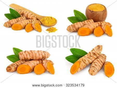 Set Or Collection Turmeric Powder And Turmeric Root Isolated On White Background With Copy Space For
