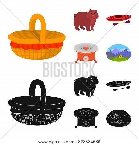 Isolated Object Of Cookout And Wildlife Sign. Set Of Cookout And Rest Vector Icon For Stock.